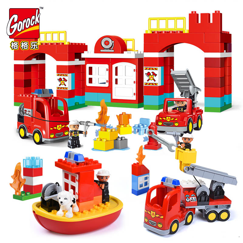 GOROCK Diy Big Size City Fire Department Firemen Building Blocks Compatible With Legoings Duplo Bricks Hobbies Toys Baby Gifts gorock 109pcs big blocks city fire department firemen building blocks set kids diy bricks creative toys compatible with duploe