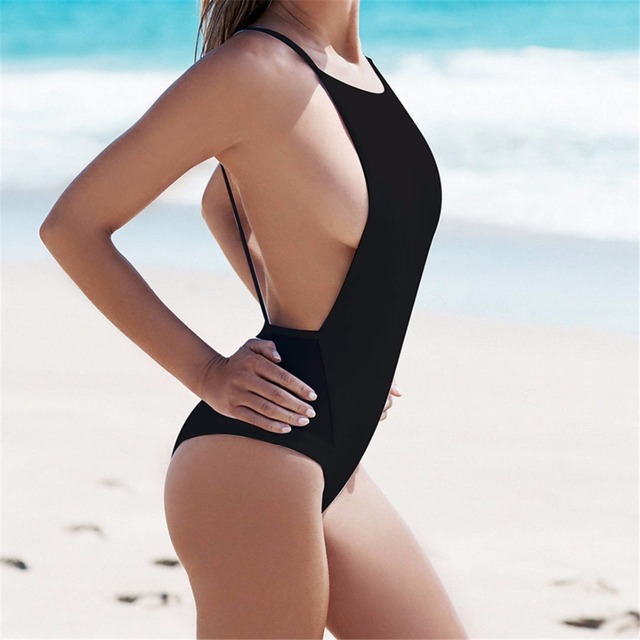 76ac26e32d0 2018 black mesh splicing Sexy low cut back bathing suit 1 one piece  swimsuit Swim suit for Women swimwear female Monokini K203