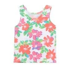 Одежда для малышей без рукавов для маленькой девочки футболки для девочек хлопковая майка летняя с цветочным принтом; футболка; жилет