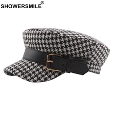 SHOWERSMILE Houndstooth Military Hat Women Plaid Black Army Cap With Belt Ladies Elegant Fitted Hats Cotton Autumn Captain