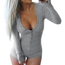 Womens 7 Colors Jumpsuit  Rompers Sexy Lady Slim Short Cotton Bodycon Jumpsuit V-Neck Long Sleeve Bodysuit Romper ZX046