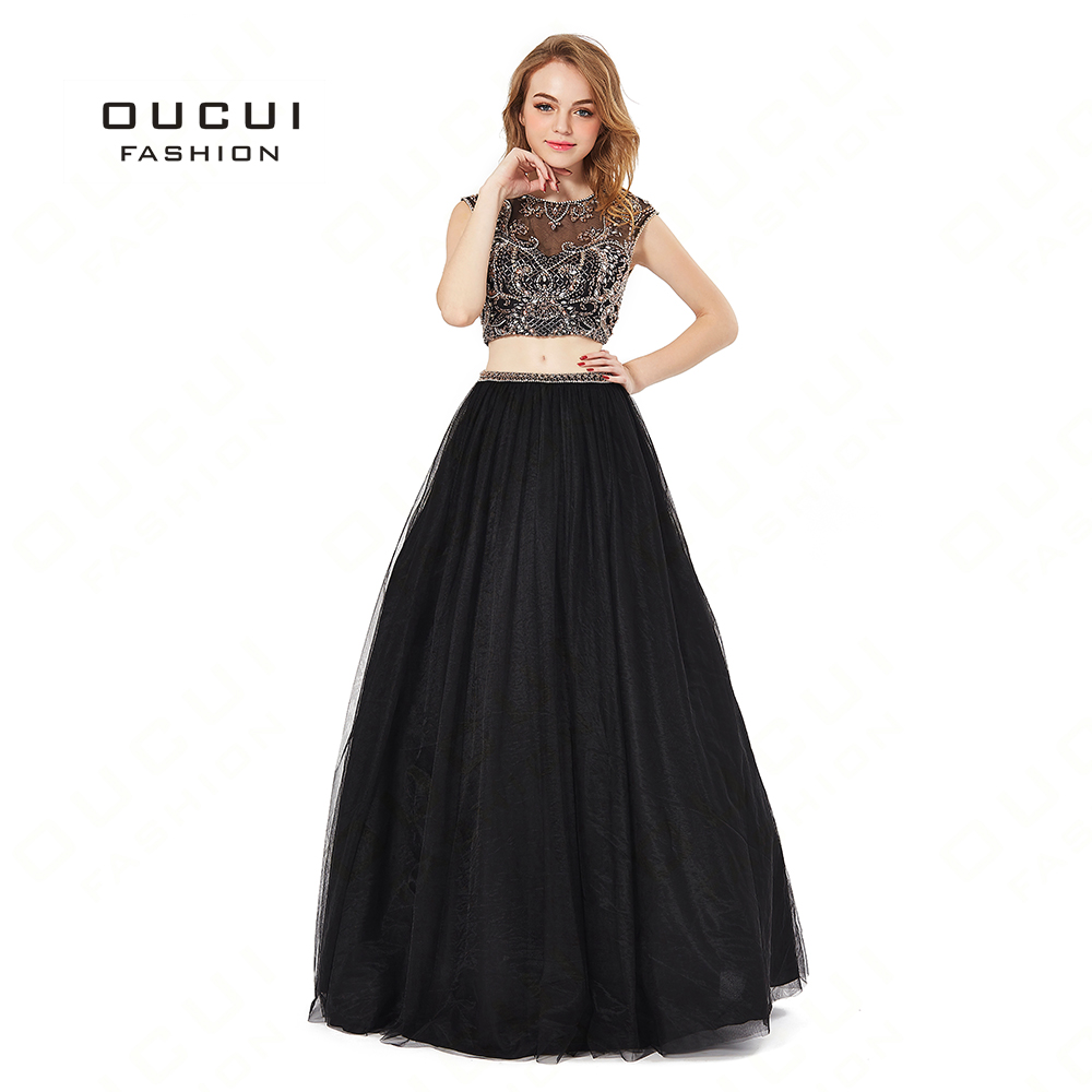 Real Photos Tulle Fabric Two Piece Beading Handwork Formal Evening Gown Long   Dress   Lace   Prom     Dresses   For Women BL1819