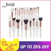 Jessup 6pcs/8pcs/10pcs/15pcs/20pcs/25pcs Pearl White/Rose Gold Makeup brushes set Beauty Make up brush Foundation Powder Blushes