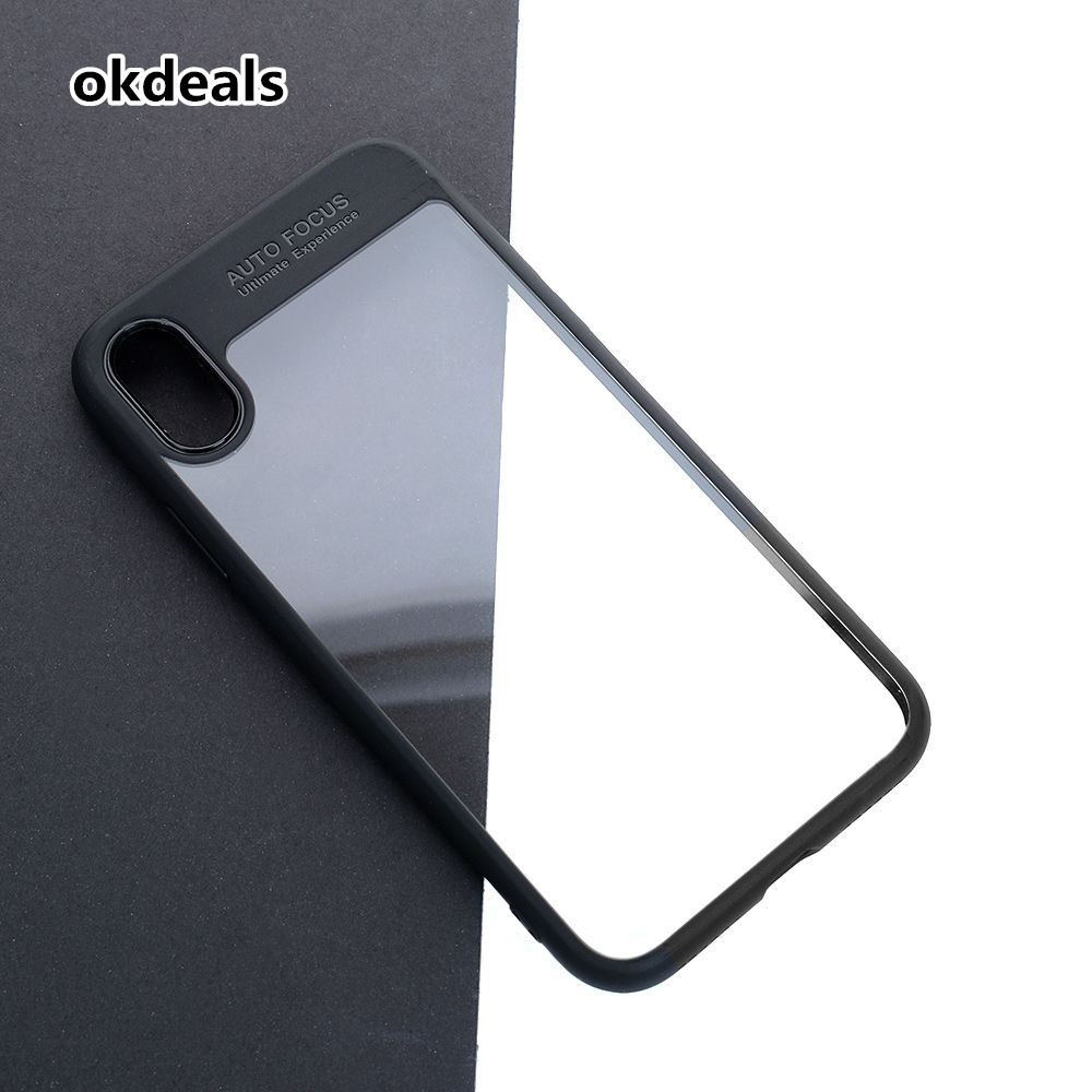 NEW Fashion Full Protective TPU Transparent Phone Back Cover Case for Apple iPhone X Black
