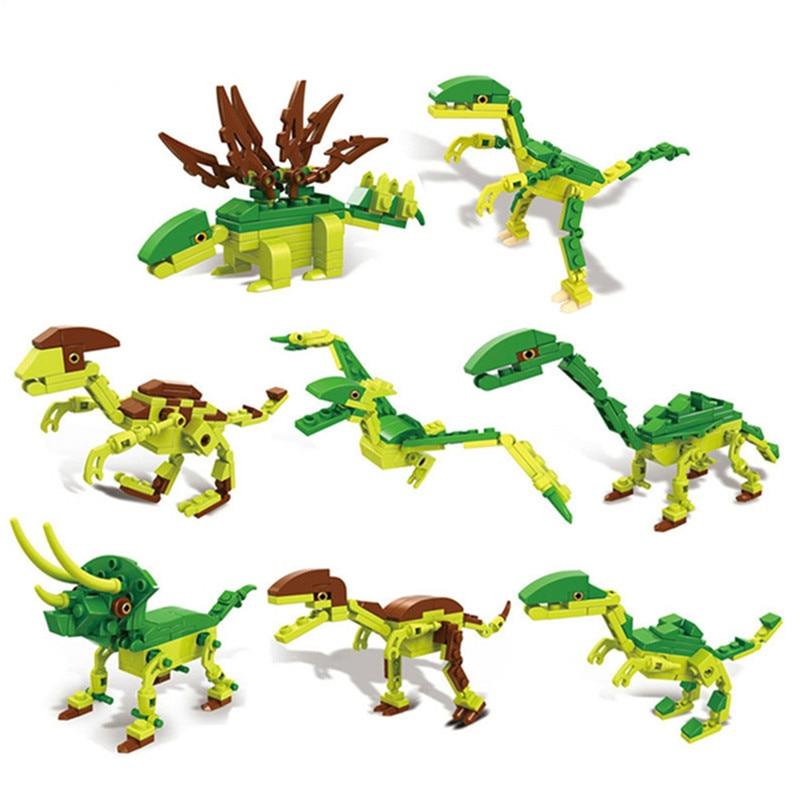 8-in-1 Jurassic Dinosaurs Figure Assembly Models Building Blocks Enlighten Bricks Learning Education Toys For Children 8 in 1 military ship building blocks toys for boys