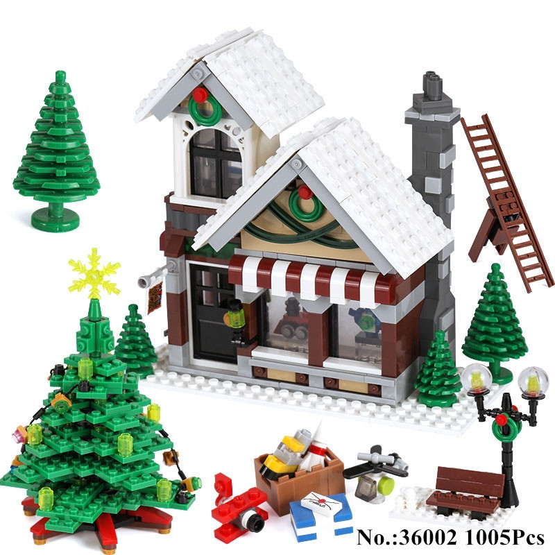945pcs diy Winter Village Shop Creator Christmas Tree Building Blocks Bricks Kids Gifts Compatible Legoingly Toys for children 2018 hot ninjago building blocks toys compatible legoingly ninja master wu nya mini bricks figures for kids gifts free shipping
