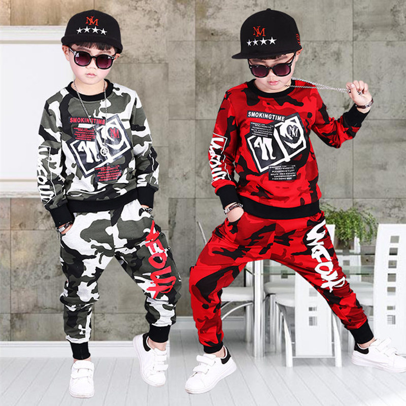 Children Clothing Sets For Boys Camouflage Sports Suits Spring Kids Tracksuits 2018 Teenage Boys Sportswear 4 6 8 9 10 12 Years