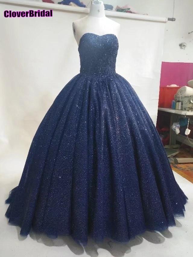 CloverBridal 2017 glitter navy blue sweetheart ball gown   prom     dresses   girls women floor length puffy party vestido longo festa