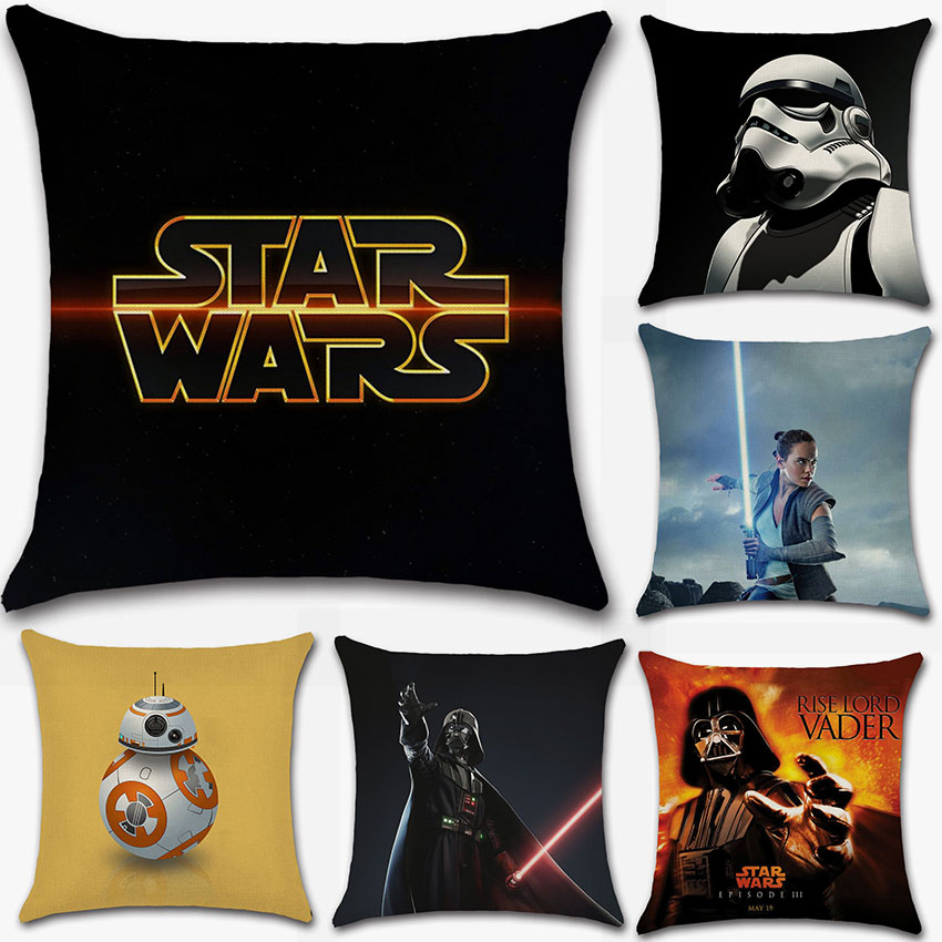 Wars Robot star force Vader cushion cover Cartoon Party Pillow case sofa Chair Decorations for home kids boy bedroom friend gift