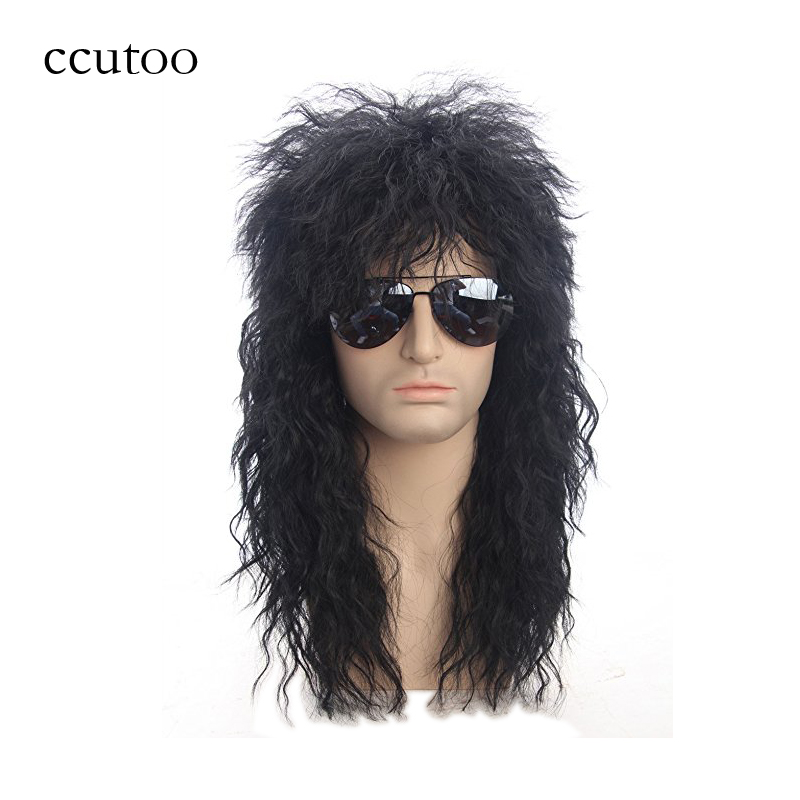 ccutoo 70s 80s Disfraces de Halloween Rocking Dude Black Curly Pelucas de cabello sintético Punk Metal Rocker Disco Mullet Cosplay Peluca solamente