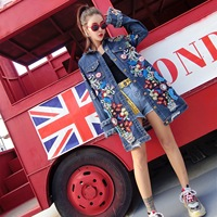 European and American women's autumn new fashion embroidery loose thin long length long sleeved denim jacket
