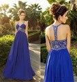 2016 Nueva Venta Caliente Del Cuello Del Halter Del Hombro Backless Prom vestido Con Cuentas Elegante del Azul Real de Una Línea de Gasa Largo vestido de Noche vestido