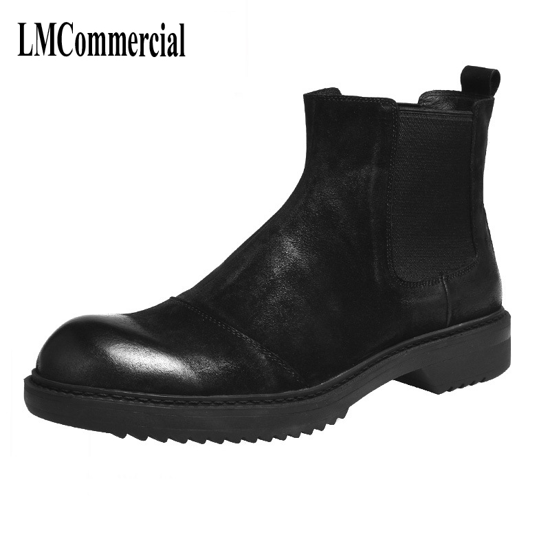 все цены на New British shoes style Martin male leather boots chunky men boots shoes men retro Chelsea boots male онлайн