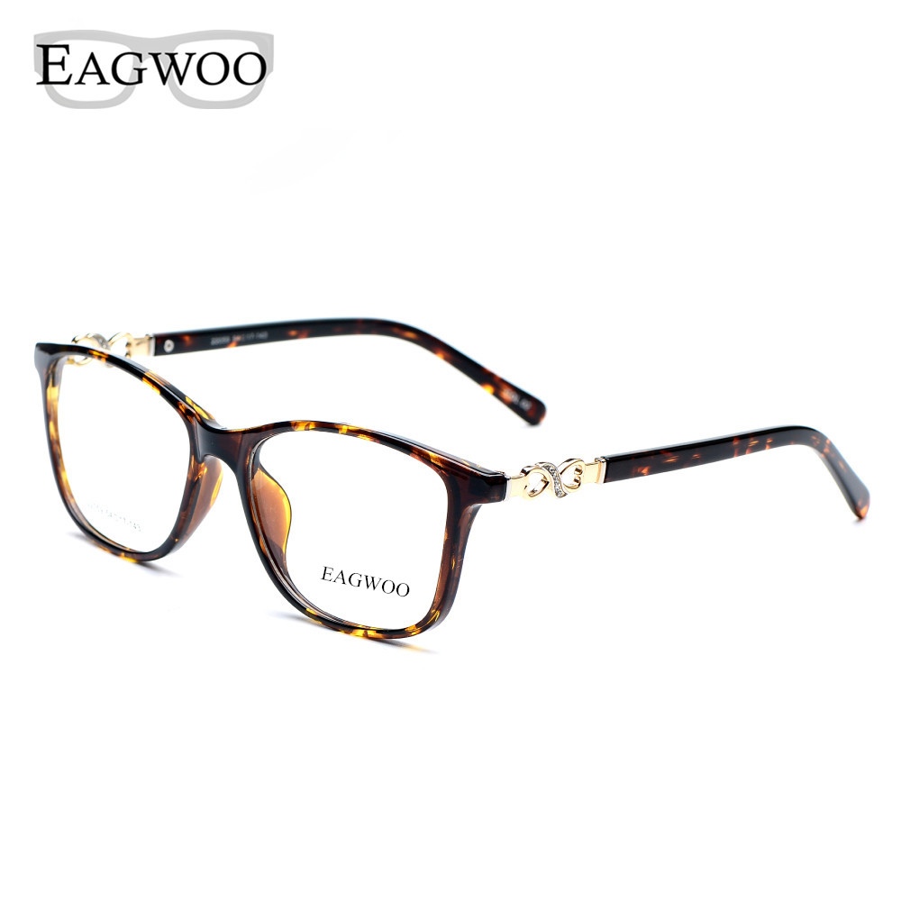 Acetate TR90 Women Female Brýle Full Rim Crystal Optical Frame Prescription Plain Clear Elegant Brýle Eye Eye 22059 želva