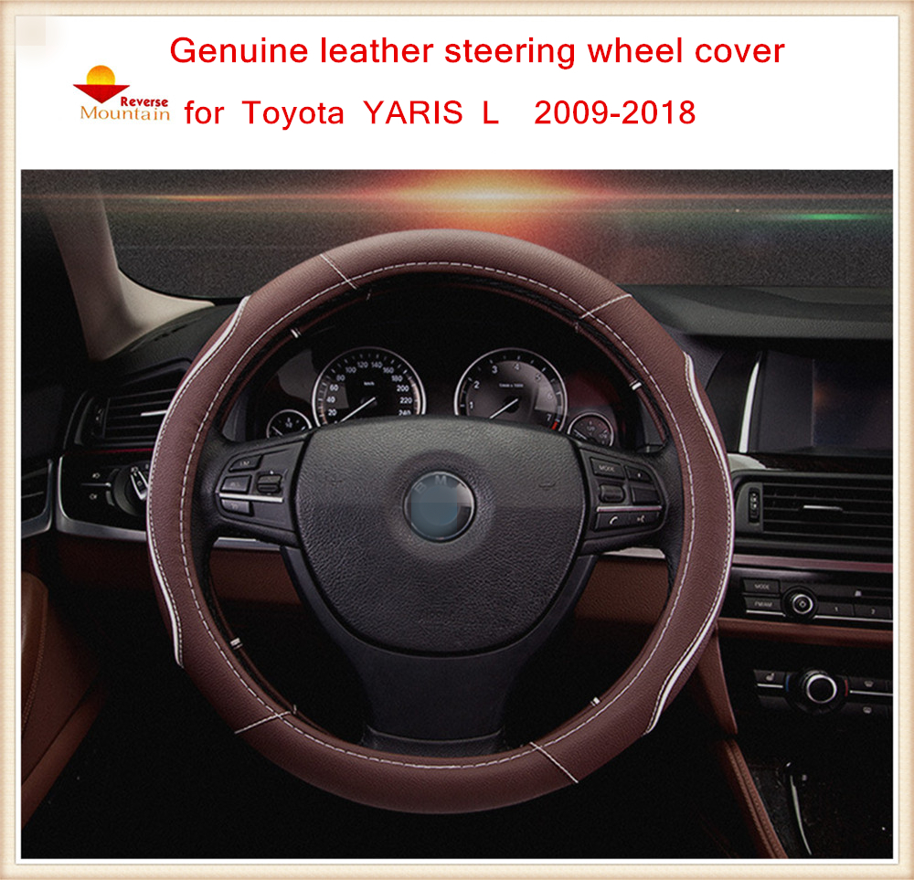 High quality genuine leather car steering wheel covers fit for toyota yaris l 2009