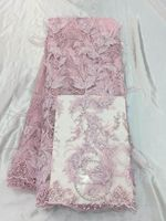 Top Grade Pink African Lace Fabric 3d Feather Pattern Embroidered French Net Lace Fabric With Beads