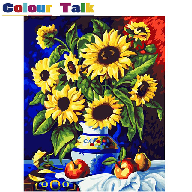 Sunflowers Painting by Numbers on Canvas Home Decor DIY Wall Art ...