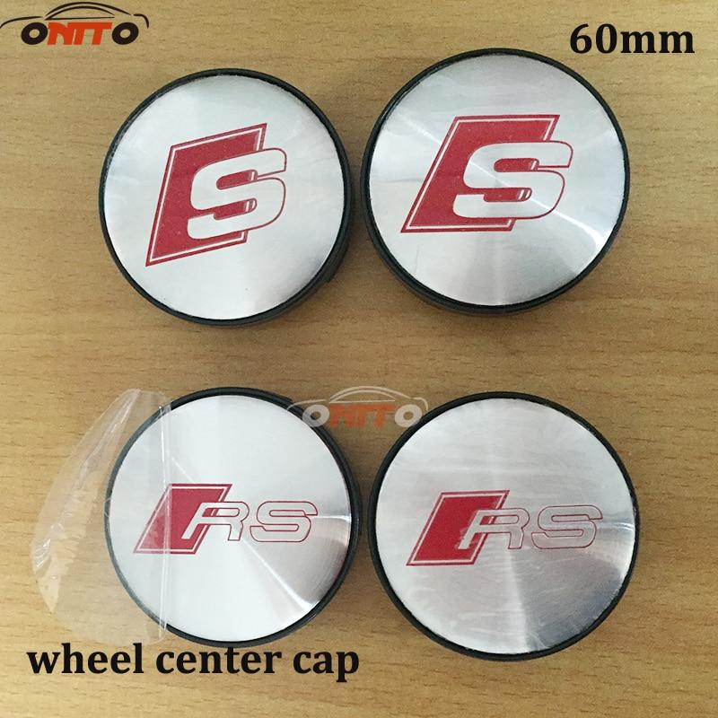 4pcs 56mm 60mm S LINE SLINE RS wheel sticker center hub cap cover emblem car stylin Wheel Dust-proof emblem covers