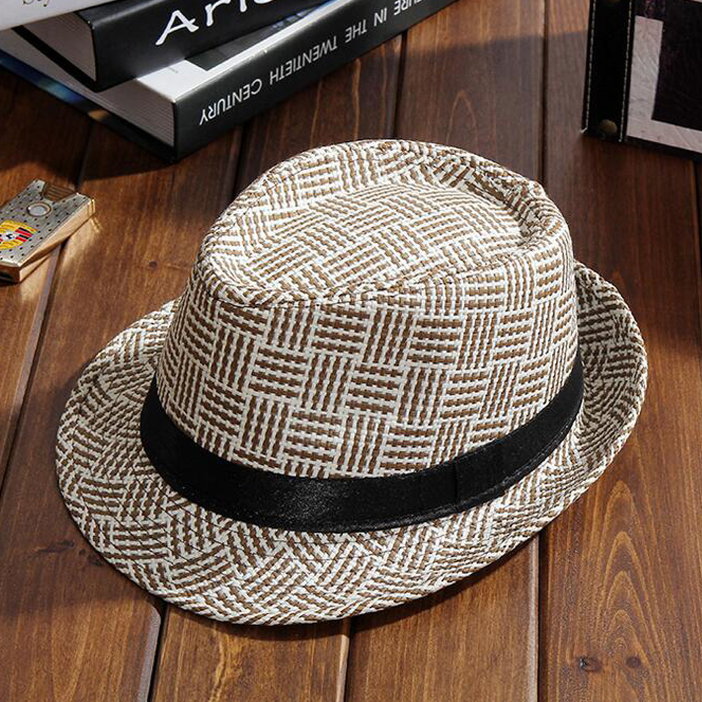 6c3e3367adc Fashion Summer Straw man and women s Sun Hats Fedora Trilby Gangster Cap Summer  Beach Sun Straw Panama Hat with Ribbow Band Sun