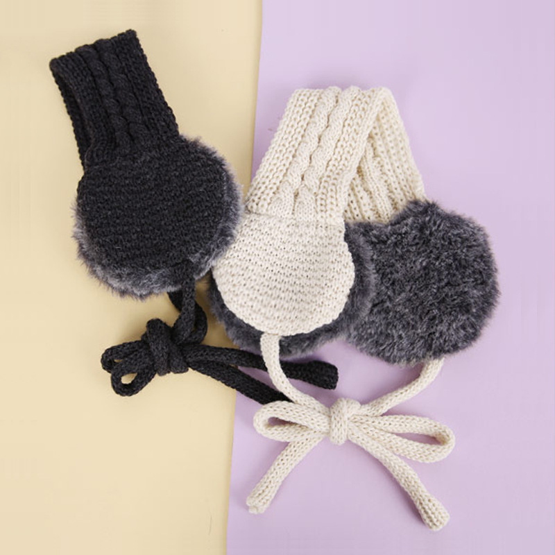 Winter Keep Warm Earmuffs For Women Acrylic Wool Plush Ear Bag Ins Style Fashion Knitting Ear Protection For Girls Q894
