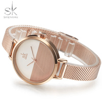 Shengke Female Dress Watches 2017 Fashion Women S Quartz Clock Gold Mesh Band Ladies S Wrist