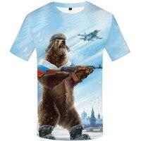 Camisa do urso T Bandeira Russa Tshirt Aptidão 3d Anime Tshirts Sexy Masculino Camisas Mens Roupas dj 12-13