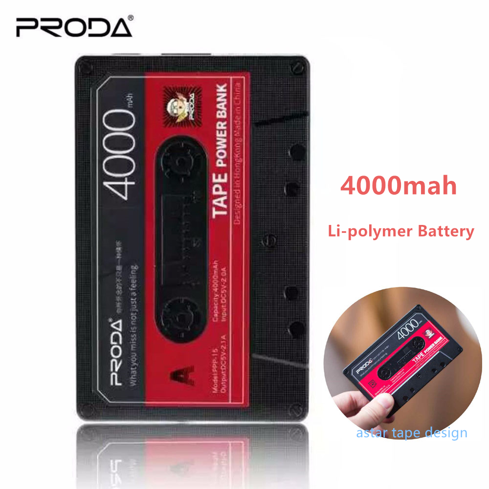 Remax 4000mAh power bank Tape Design Mobile Phone Large Capacity Mini Portable External Battery Powerbank with free USB cable