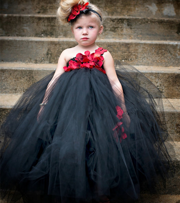 Ankle Length Girls Black Dress Red Flower One Shoulder Summer Girl Lace Dress Long Tulle Teen Girl Party Dress Baby Girl Clothes (5)