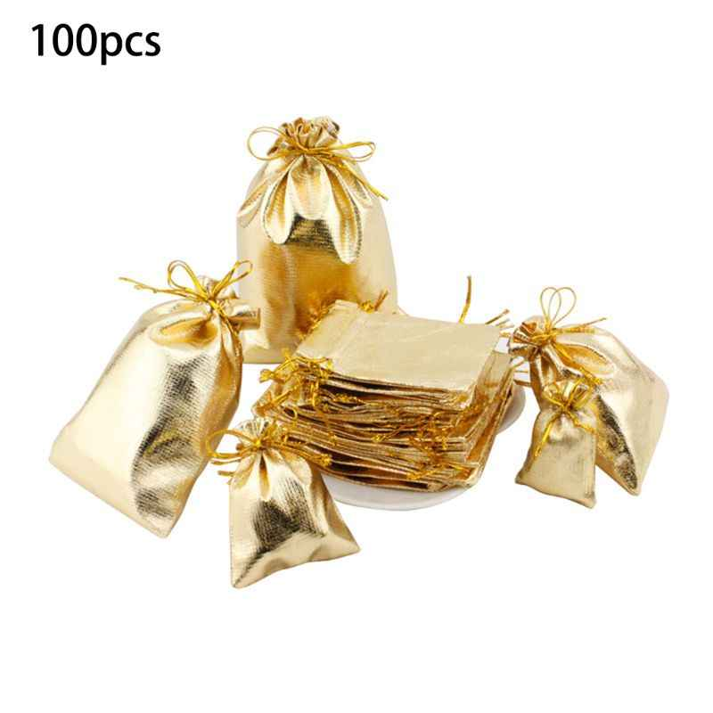 100pcs/lot Silver Color Gold Color Metallic Foil Organza Pouches Christmas Wedding Party Favour Gifts Candy Bags