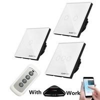 EU Standard 3 Gang 1 Way Light Switch Wireless Remote Control Wall Switch Crystal Glass Panel