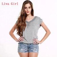 Lztlylzt New Summer 2017 Women Casual Gray Tee Shirt Plus Size XXL Short Sleeve V