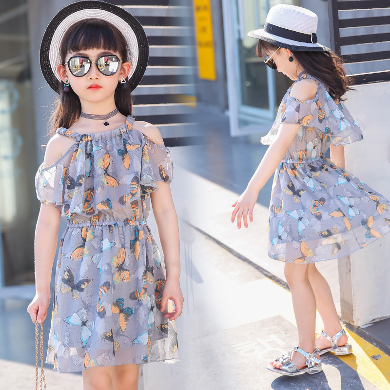 big girls dresses summer 2018 little girls chiffon dresses kids girl dress butterfly clothes size 3 4 5 6 7 8 9 10 11 12 years 4 15y little big girls clothes rustic flower girl wedding occasion junior bridesmaid kids cocktail dresses for 14 year girls