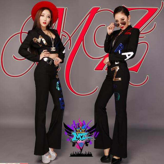 2016 Novos bares Discotecas roupas DJ preto escovado tecido de lã letras lantejoulas ternos das mulheres Queimado calças trajes Tamanho do Vestido