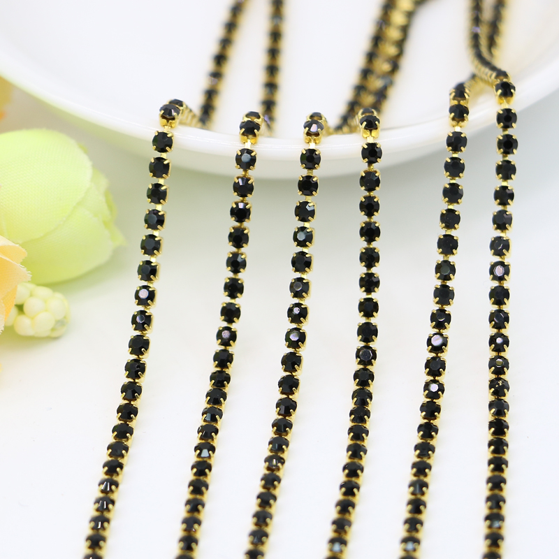 Wholesale Vintage <font><b>Rhinestone</b></font> <font><b>Cup</b></font> <font><b>Chain</b></font> SS6.5-SS12 Crystal Jet Black <font><b>Strass</b></font> <font><b>Brass</b></font> Setting Glass Crystals, 3.5-5Meters/Set