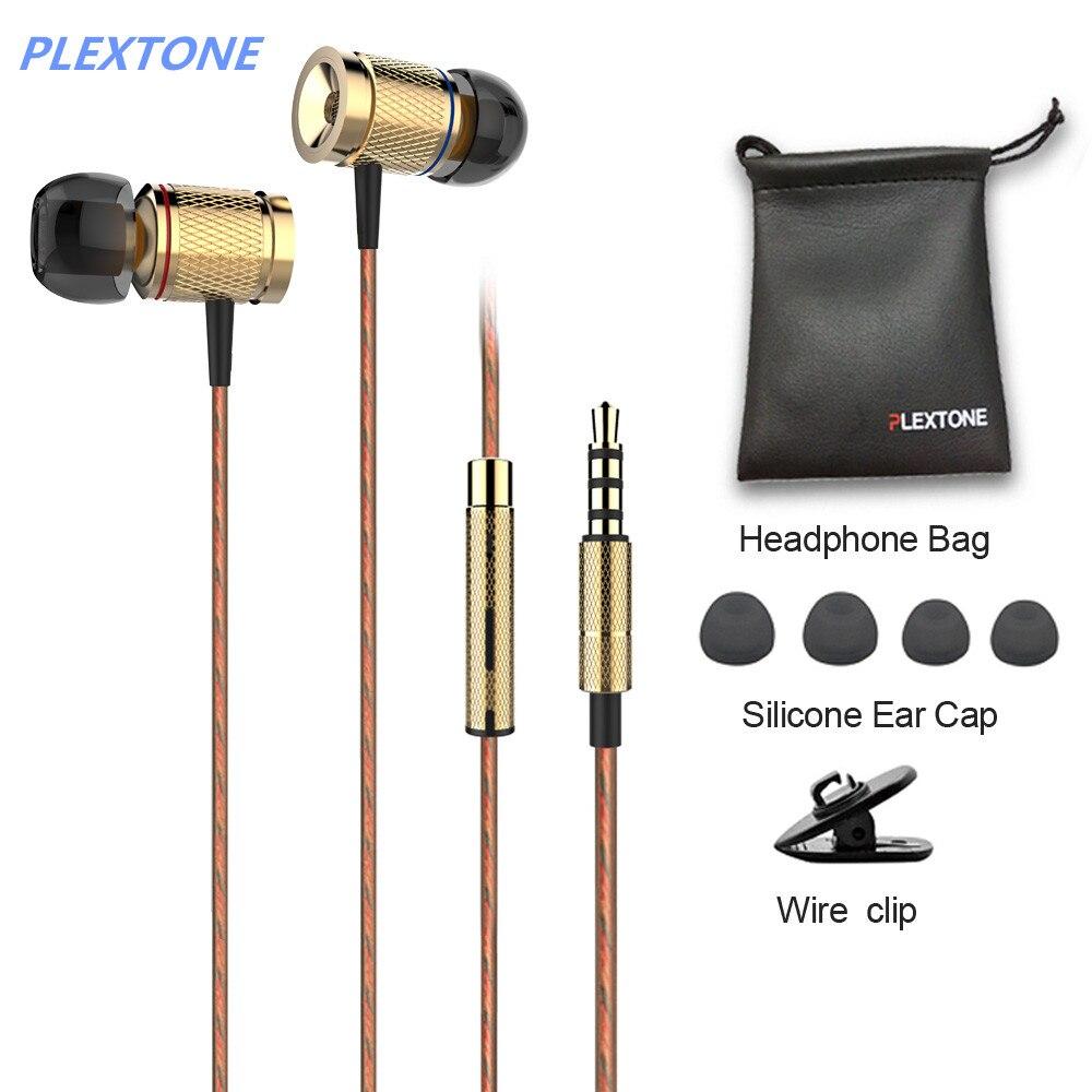 PLEXTONE X53M magnet movement earphone wire control headphones metal movement headsets with wheat 3 5mm plug
