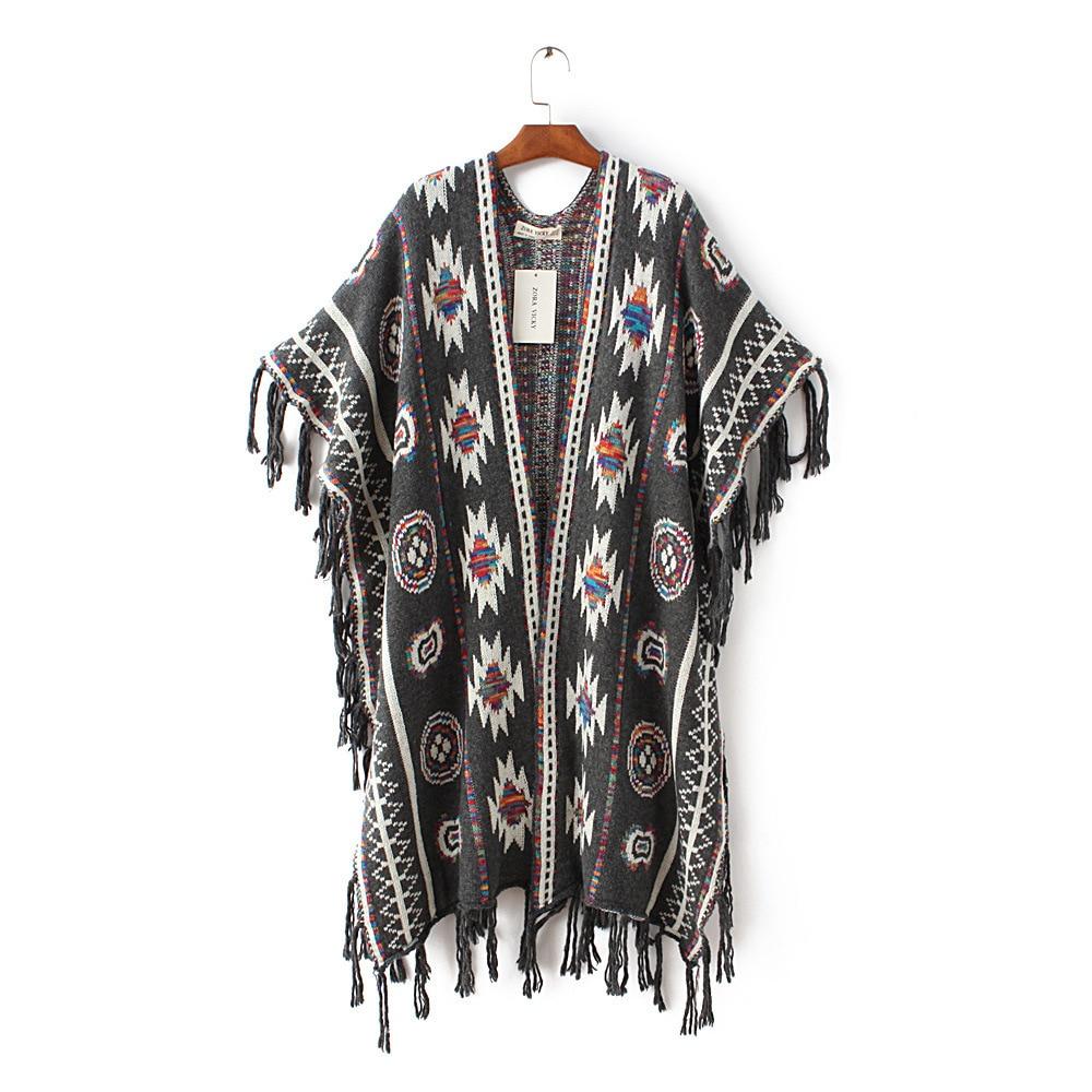 Žene 3 boje Aztec dugi kardigan Vintage Geo Uzorak rese Pleteni - Ženska odjeća - Foto 5