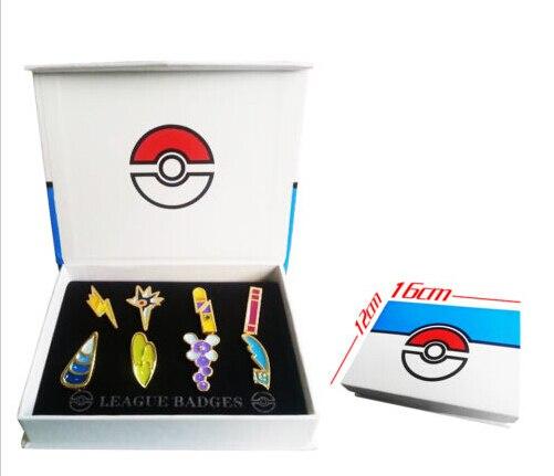 Pokemon B/W2 Unova 8 Metall League Abzeichen Pin Pip Gen 5 Cosplay Prop Collection Set 8 * abzeichen + Box 12*16*3 cm Geschenk Für Kinder erwachsene