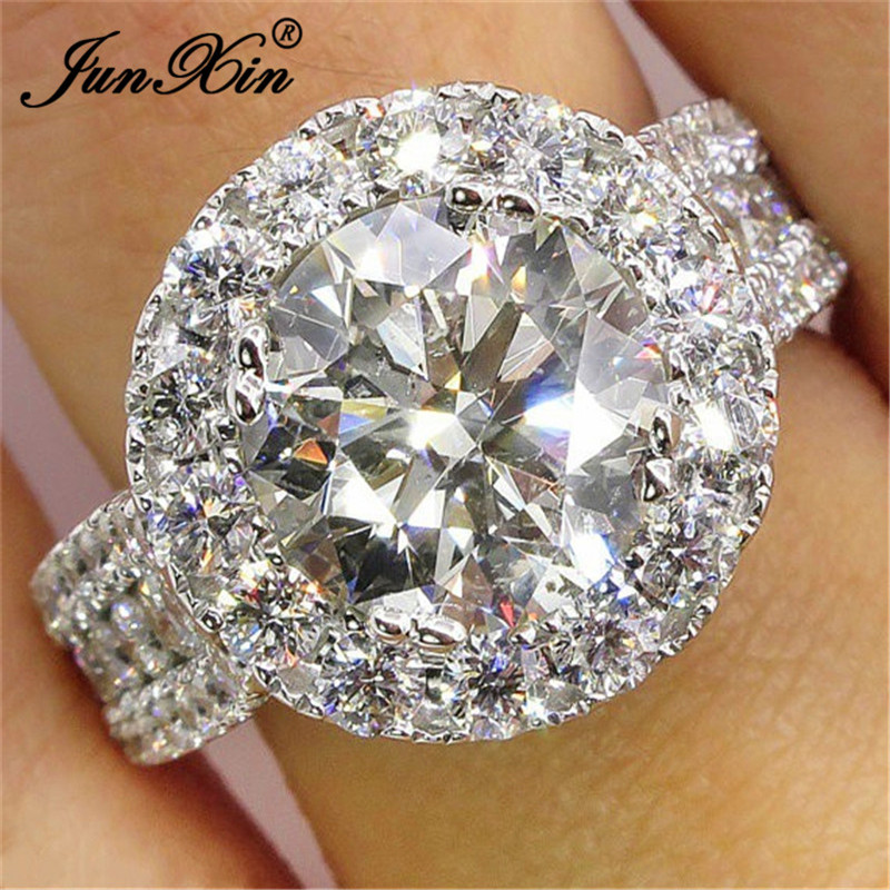 Wholesale 925 Sterling Silver Plated NEW Women Fashion zircon Ring SIZE 8 JZ553