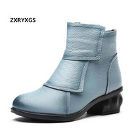 ZXRYXGS brand boots women shoes casual fashion shoes woman ankle boots 2018 autumn winter boots cow leather shoes women boots