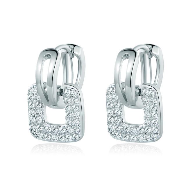 Square Hoop Cubic Zirconia Earrings