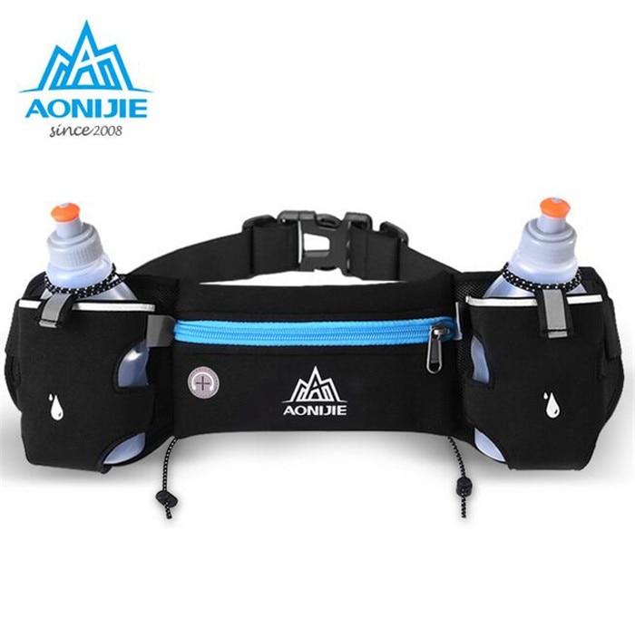AONIJIE Running Hydration Belt Bag Waist Pack Bottle Holder + 2 pc 250ml Water Bottles Sport Men Women Fanny