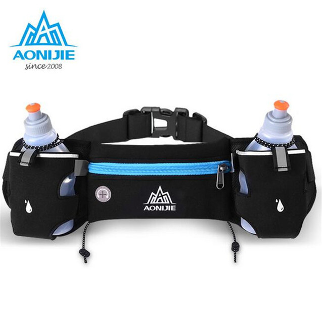 AONIJIE Running Hydration Belt Bag Waist Pack Bottle Holder + 2 pc 250ml Water Bottles Sport Bag Men Women Fanny Pack
