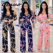 Genuo Multi New Printed Boho Jumpsuit Beach Flower Print Sexy V-Neck Wide Leg Rompers Elegant Women Jumpsuitd Long Overalls 2019 flower print wide leg smock bandeau jumpsuit