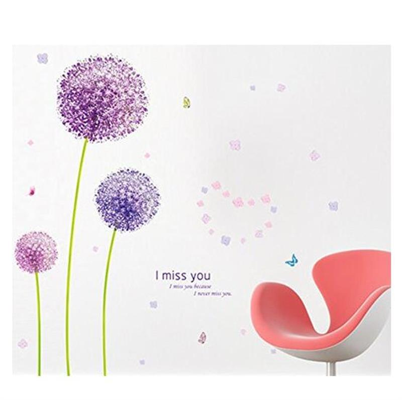 Purple Dandelion Can Remove Wall Stickers Factory Direct Sale Spot Wholesale