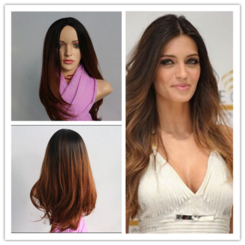 Hot Sell!  Fashion 60cm Long Ombre Color Heat Resistant Fiber Bob Cosplay Party Full Wig