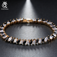ORSA JEWELS Hot Sell Roman Chain Bracelet For Women Luxury Clear Black Cubic Zircon Inlay Charm