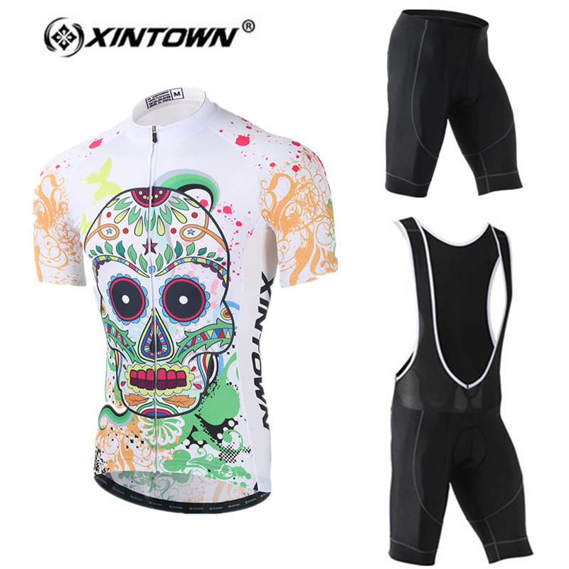 XINTOWN Cool Men White Cycling Jersey sets 2018 Short sleeve Bicycle Bike Jersey Cycling Clothing Breathable Sport Cycling Wear
