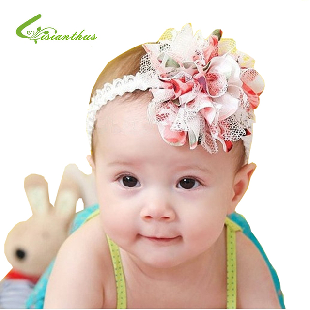 Free Shipping Baby Chiffon Flower Headband Girls Lace Headband Infant Knitting Hair Weave Baby Hair Accessories Gift  TPF0005