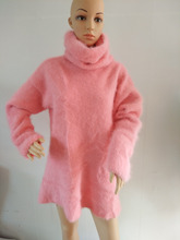 Plush mink cashmere turtleneck sweater long Pullover sweater coat free shipping