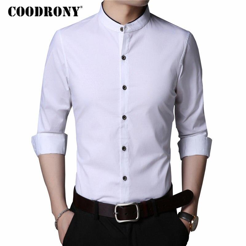 COODRONY Cotton Shirt Men Clothes 2018 Autumn Mens Casual Shirts Long Sleeve Camisa Masculina Mandarin Collar Chemise Homme 8720